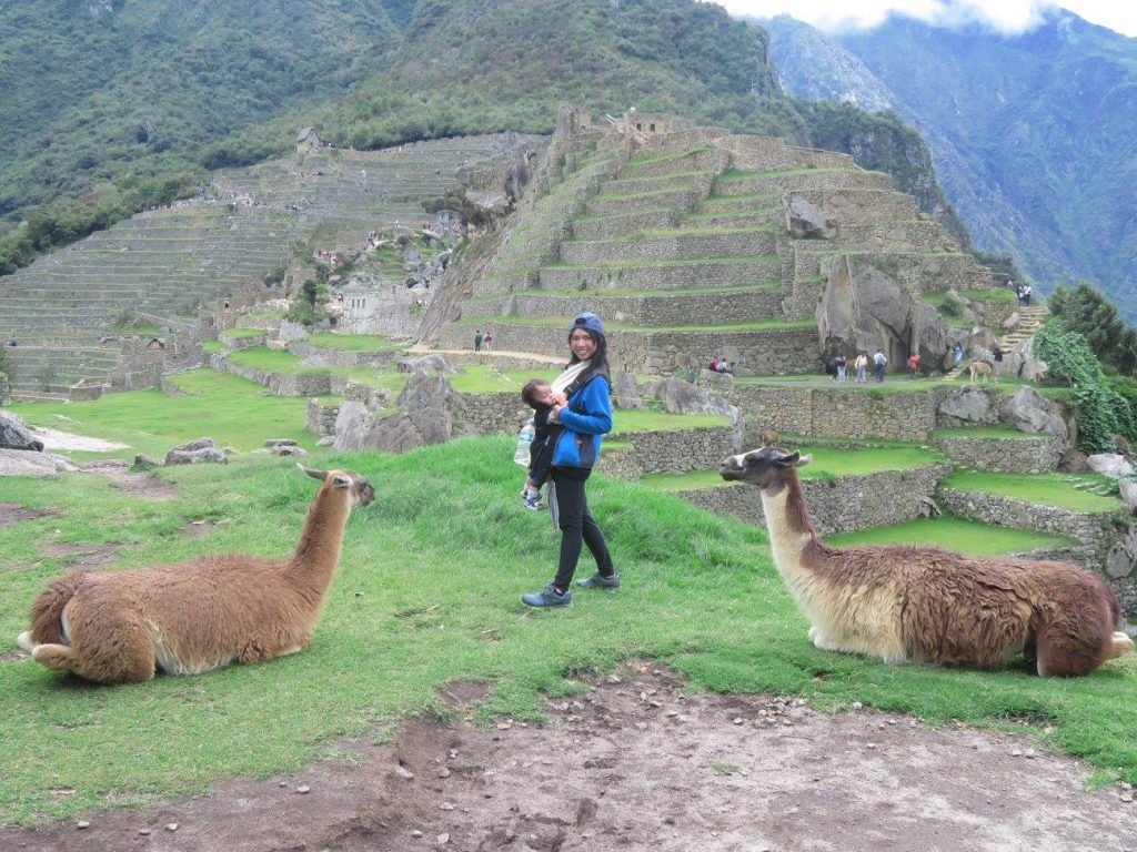 HiuYing with two llamas