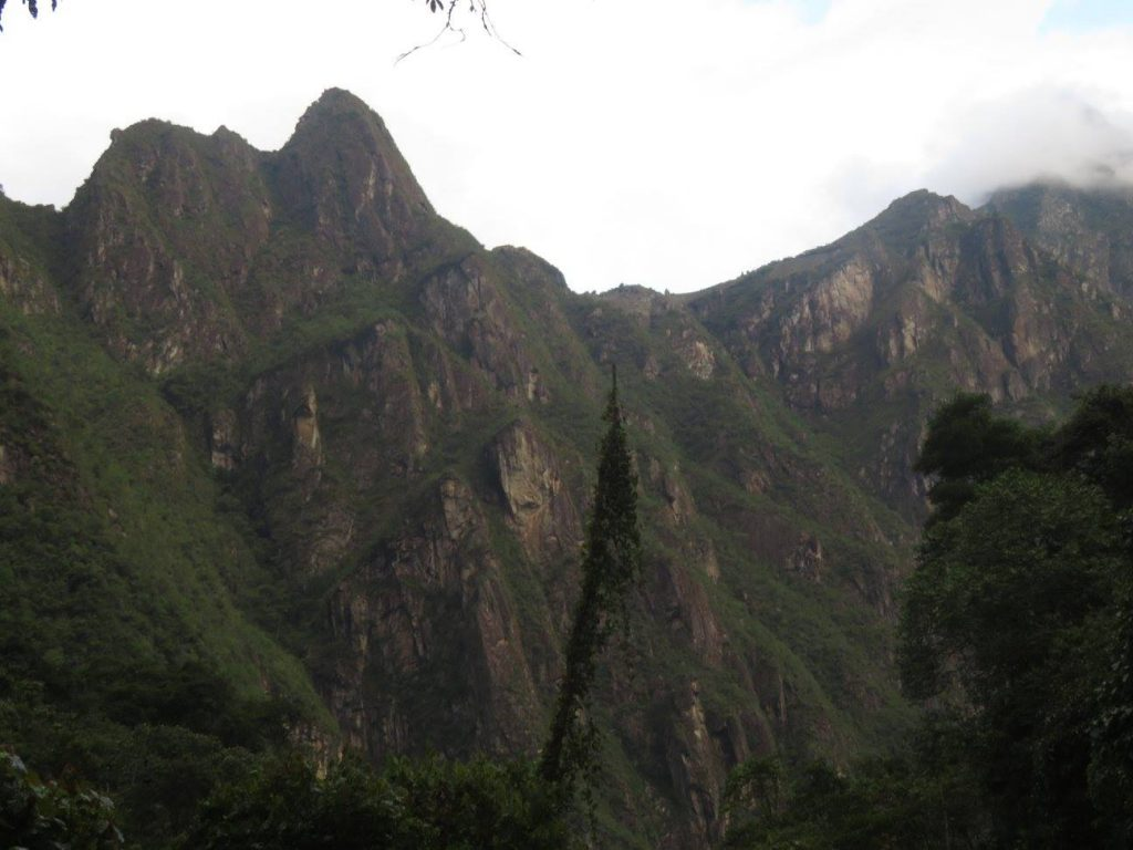 Photo of the Machu Picchu from down the valley.
