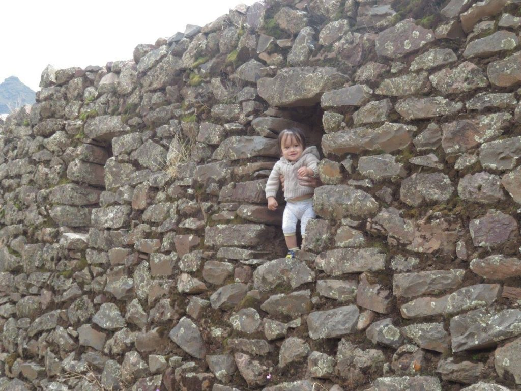 Darian playing in the ruins