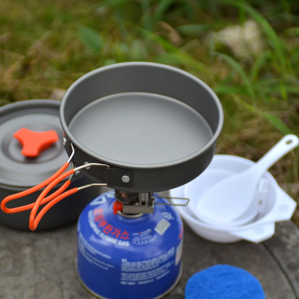 A photo of a camping cooking gear
