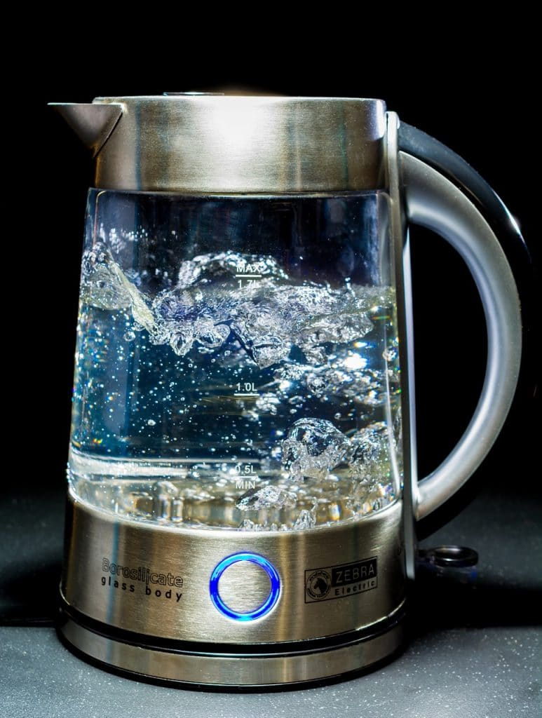 A kettle with boiled water