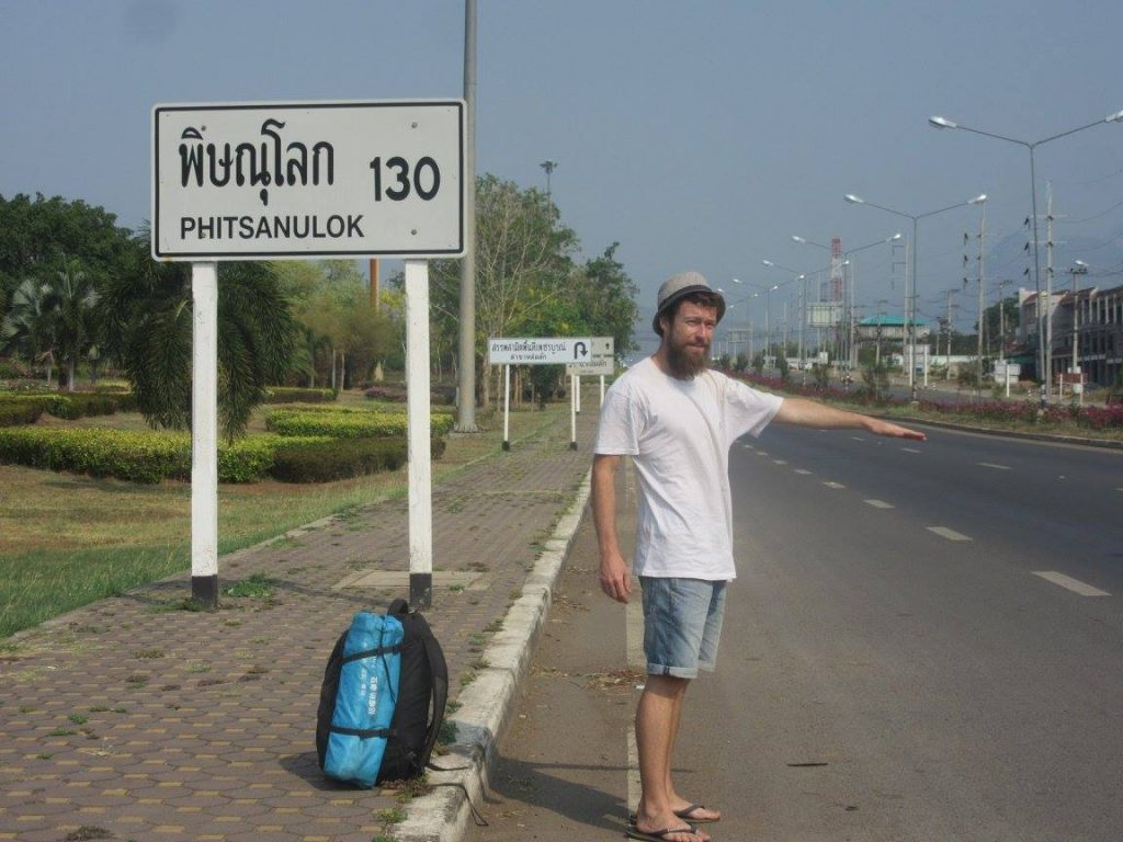 Maxime hitchhiking in Thailand
