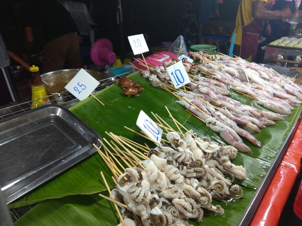 Squid and octopus at the night market