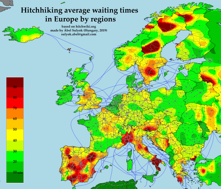 Hitchhiking map of Europe