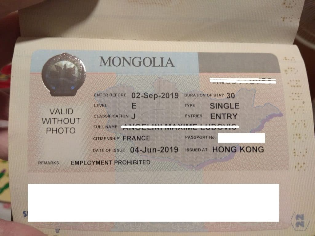 A picture of the Mongolian Visa