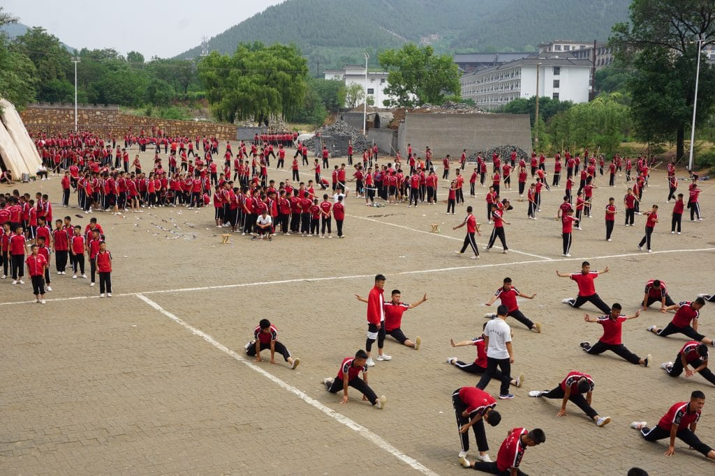 Students training Kung Fu at the Shaolin temple