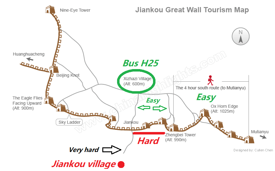 Jiankou Great Wall of China Map