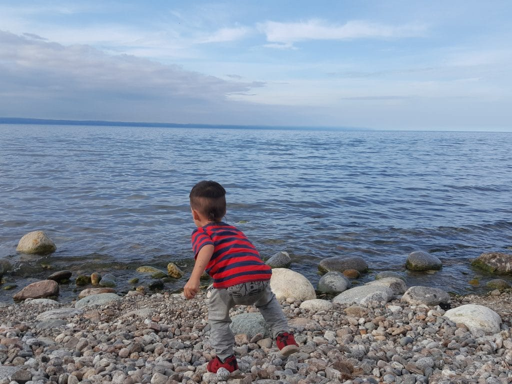 Darian in front of the Lake Baikal