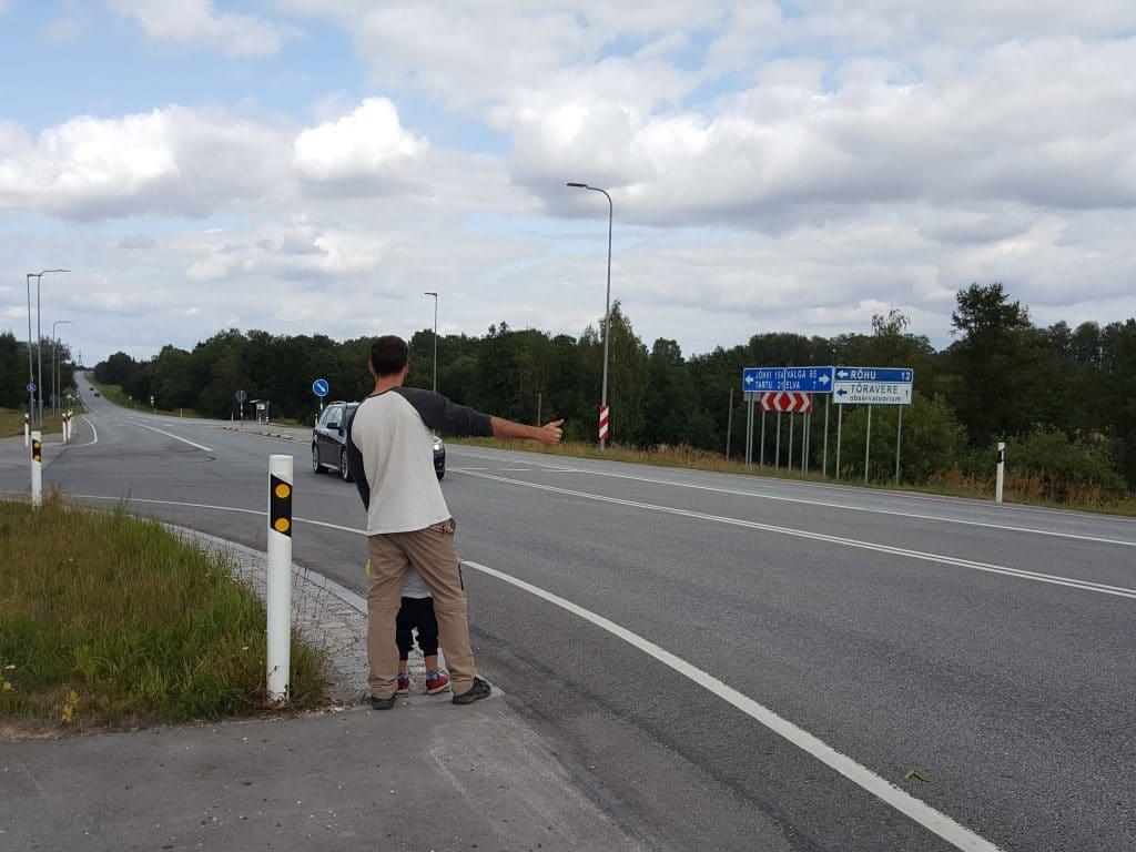 Hitchhiking with a kid in Estonia