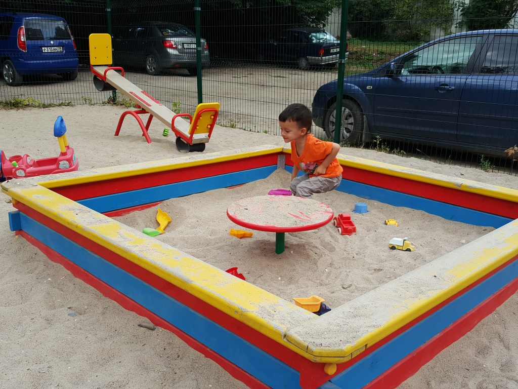 Kid playing in a playground in Kaliningrad