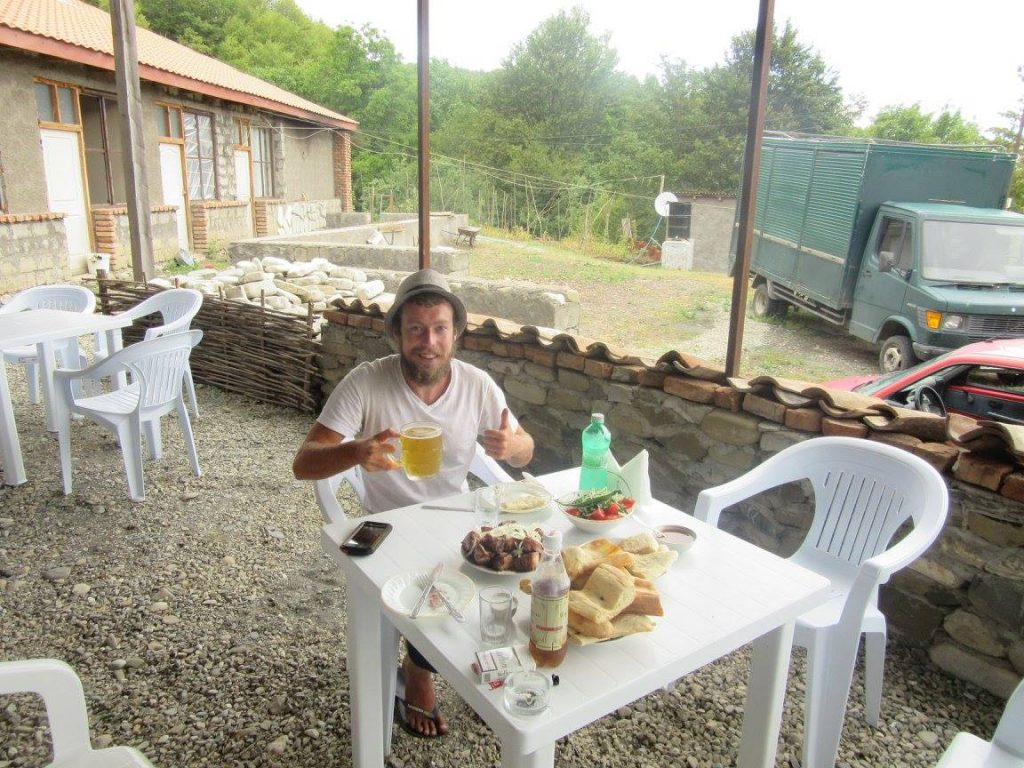 Georgian food after hitchhiking a helicopter
