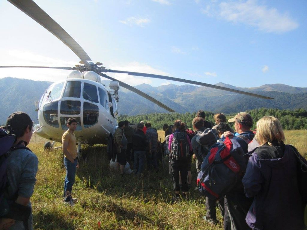 Helicopter in Omalo, Tusheti