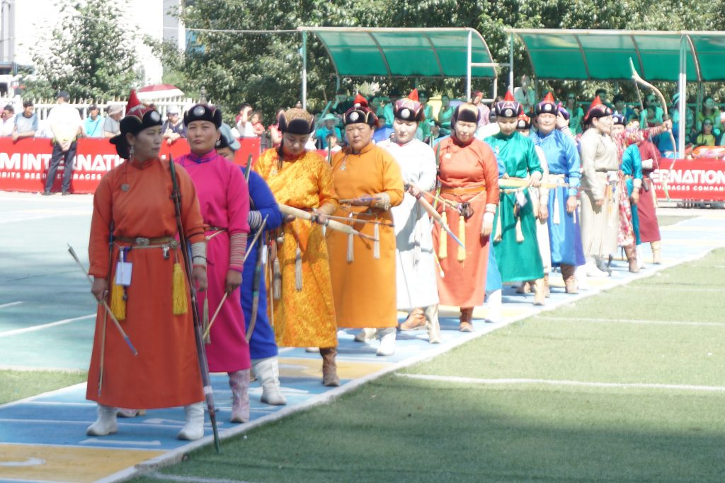 Women archery competition during Naadam