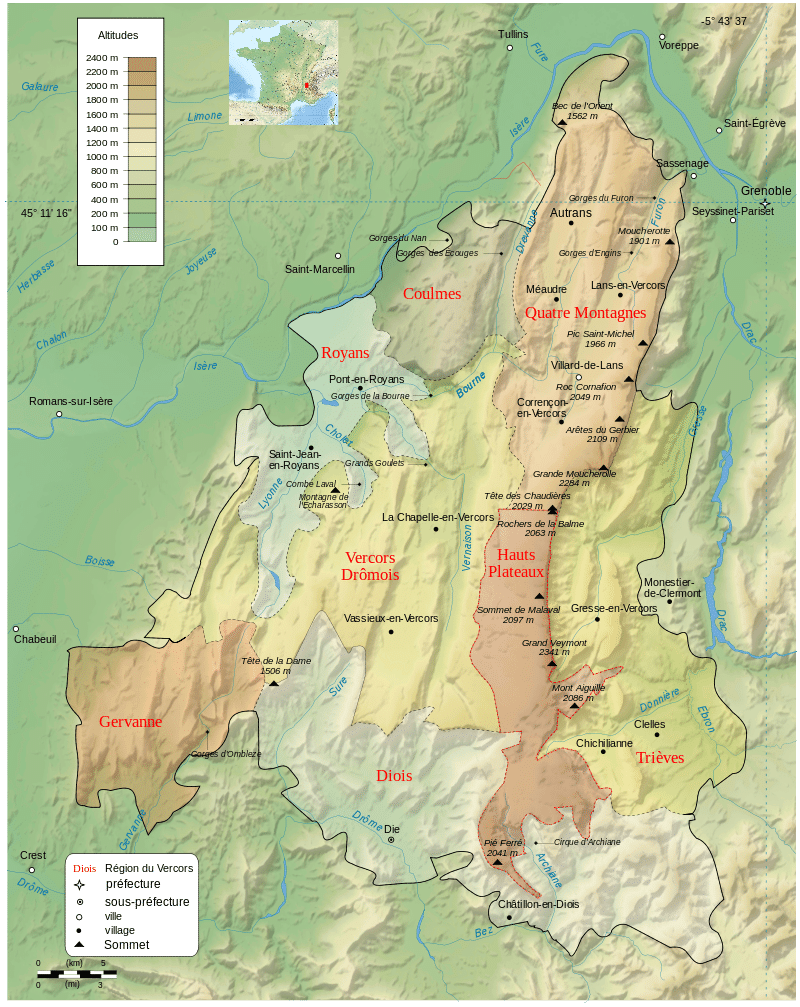 Map of the Vercors