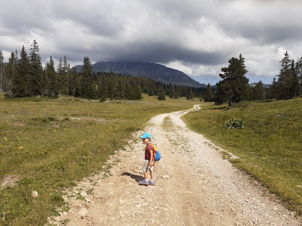 My kid hiking on the way to Le Grand Veymont