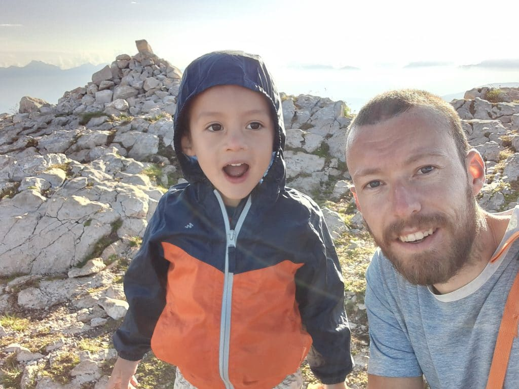 Me and my son on top of the mountain Le Grand Veymont