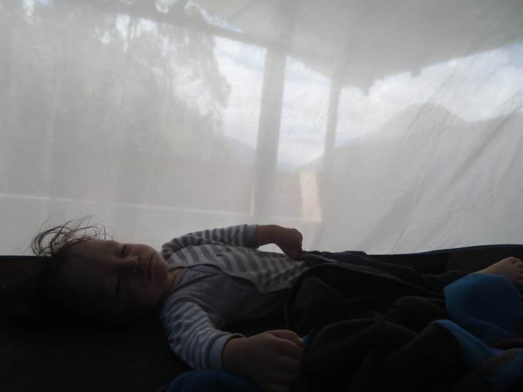Our baby in a tent in Peru