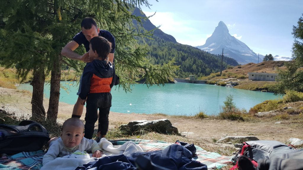 Baby on the mat with the Matterhorn